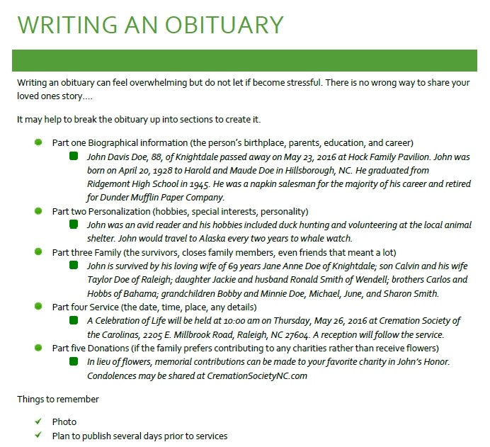 help writing an obituary Writing an obituary can be a very painful challenge especially if you are close to the deceased obituary is a short announcement which is published in the local.